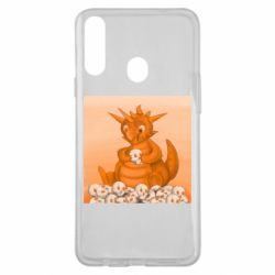 Чохол для Samsung A20s Cute dragon with skulls