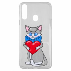 Чехол для Samsung A20s Cute kitten with a heart in its paws