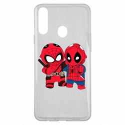 Чехол для Samsung A20s Дэдпул и Человек паук