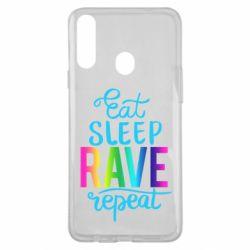 Чохол для Samsung A20s Eat, sleep, RAVE, repeat