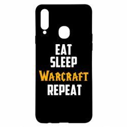 Чехол для Samsung A20s Eat sleep Warcraft repeat