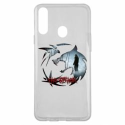 Чехол для Samsung A20s Emblem wolf and text The Witcher