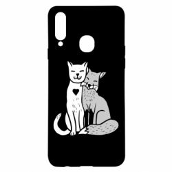 Чохол для Samsung A20s Fox and cat heart