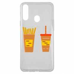 Чехол для Samsung A20s French fries and cocktail flat vector