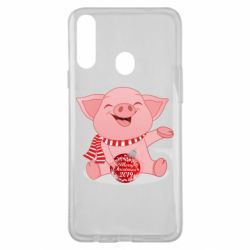 Чохол для Samsung A20s Funny pig with a Christmas toy