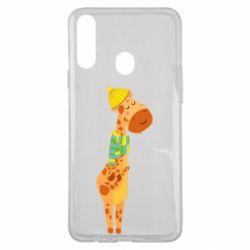 Чехол для Samsung A20s Giraffe in a scarf
