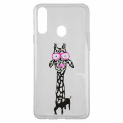 Чохол для Samsung A20s Giraffe in pink glasses