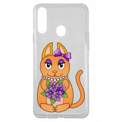 Чехол для Samsung A20s Girl cat with flowers