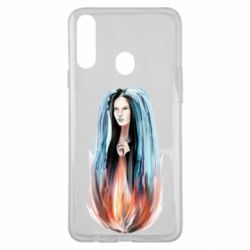Чехол для Samsung A20s Girl in flame