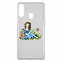 Чехол для Samsung A20s Girl with a kitten in flowers