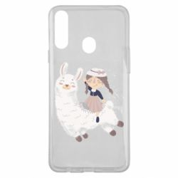 Чохол для Samsung A20s Girl with a lama