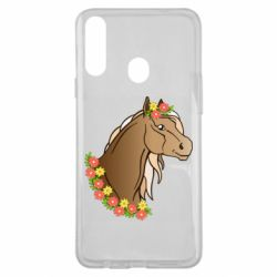 Чехол для Samsung A20s Horse and flowers art