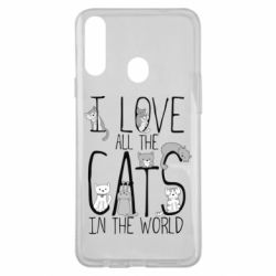 Чехол для Samsung A20s I Love all the cats in the world