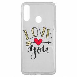 Чохол для Samsung A20s I love you and heart
