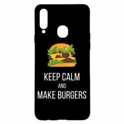 Чехол для Samsung A20s Keep calm and make burger