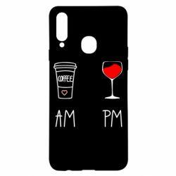 Чохол для Samsung A20s Кофе и бокал с вином
