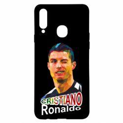 Чохол для Samsung A20s Крістіано Роналдо, полігональний портрет