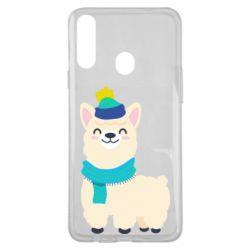 Чехол для Samsung A20s Llama in a blue hat