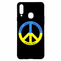 Чехол для Samsung A20s Love,peace, rock'n'roll, Ukraine