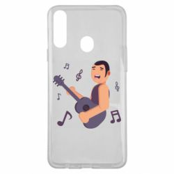 Чехол для Samsung A20s Man playing the guitar flat vector