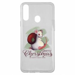 Чехол для Samsung A20s Merry Christmas and white mouse