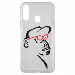 Чохол для Samsung A20s Monkey in red glasses