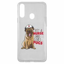Чехол для Samsung A20s Nurse loves pugs