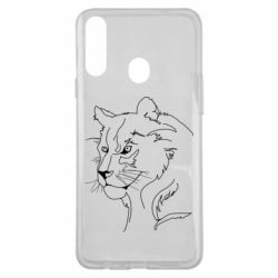 Чехол для Samsung A20s Outline drawing of a lion