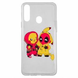 Чехол для Samsung A20s Pikachu and deadpool