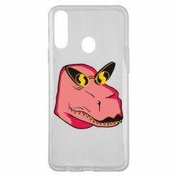 Чохол для Samsung A20s Pink dinosaur with glasses head