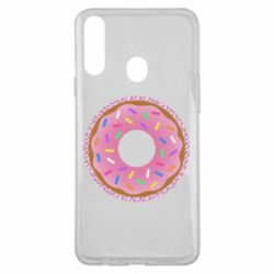 Чохол для Samsung A20s Pink donut on a background of patterns