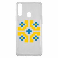 Чехол для Samsung A20s Pixel pattern blue and yellow