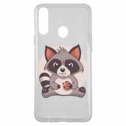 Чохол для Samsung A20s Raccoon with cookies