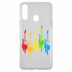 Чехол для Samsung A20s Разноцветные гитары