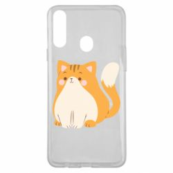 Чехол для Samsung A20s Red cat with stripes