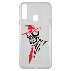 Чехол для Samsung A20s Skull in a hat with a tie