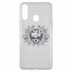Чохол для Samsung A20s Skull with horns and patterns