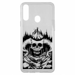 Чохол для Samsung A20s Skull with horns in the forest