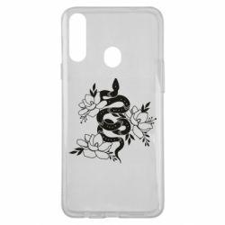 Чохол для Samsung A20s Snake with flowers
