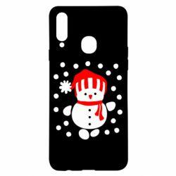 Чехол для Samsung A20s Снеговик в шапке