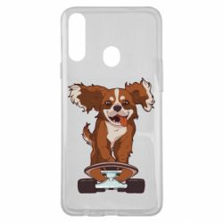 Чехол для Samsung A20s Собака Кавалер на Скейте