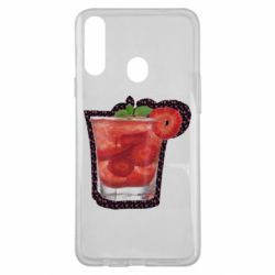 Чохол для Samsung A20s Strawberry cocktail on a background of flowers