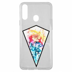 Чехол для Samsung A20s Watercolor flower in a geometric frame