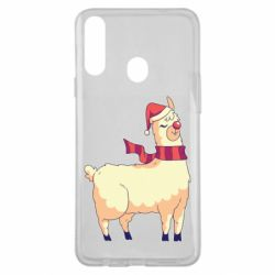Чехол для Samsung A20s Yellow llama in a scarf and red nose