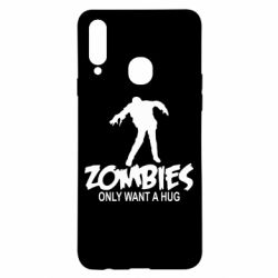 Чехол для Samsung A20s Zombies only want a hug