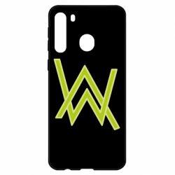 Чехол для Samsung A21 Alan Walker neon logo