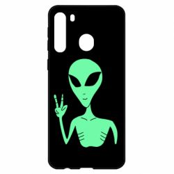 Чехол для Samsung A21 Alien and two fingers
