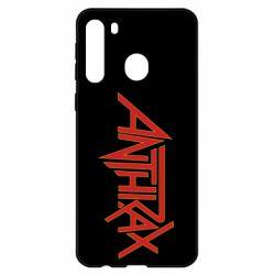 Чехол для Samsung A21 Anthrax red logo