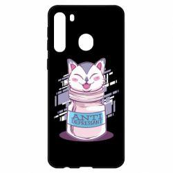 Чехол для Samsung A21 AntiDepressant Cat