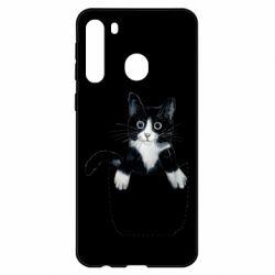 Чехол для Samsung A21 Art cat in your pocket
